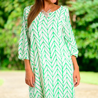Never Bow Down Dress, Green/White