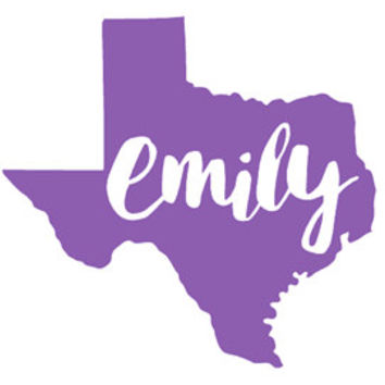 "Name in Texas Decal-  3"", 4"", 5"", 6"", 7"", 8"", 9"", 10"", 11""- Color and Glitter Options"
