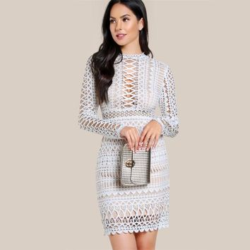 Circle Guipure Lace Cut Out Bodycon Going Out Midi Dress
