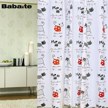 Luxury Printing Cartoon Cute Cats Waterproof Moldproof Bathroom Shower Curtain With Hooks