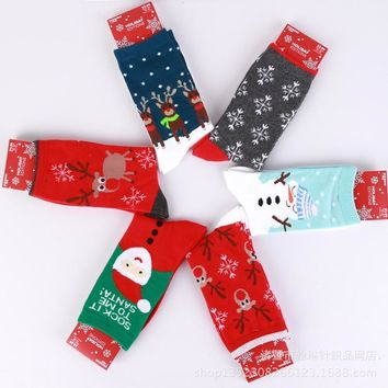 New Sale Santa Snowman Cotton Socks Female Elk Snowflake Knee-High Socks Adult Christmas Casual Print Women Warm Socks