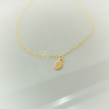 Tiny Oval Charm Necklace - Plain Tag - Engravable - Dainty - Gold Necklace - Gold Chain - Yellow Gold