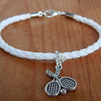 Men's Tennis Bracelet, Men's Sport Bracelet, Men's Eco Leather Bracelet, FREE SHIPPING