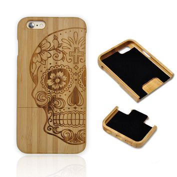 Free Shipment Natural Handmade Wooden Wood Bamboo Carve Skull Cases Cover for IPhone 6/ 6 Plus for Iphone6S/6S Plus