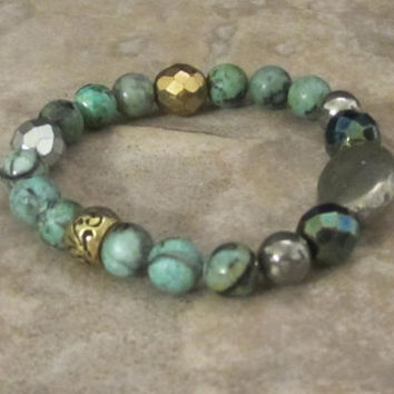 Natural African Turquoise Bracelet Stretch Bracelet Boho Bracelet Pyrite Stackable Bracelet