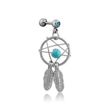ac DCCKO2Q 2pcs/lot Dream Catcher Star Helix Tragus Cuff Ear Piercing Cartilage Stud Earring tragus body jewelry piercing earring