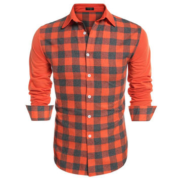 Long Sleeve Button Up Plaid Men Casual Shirt