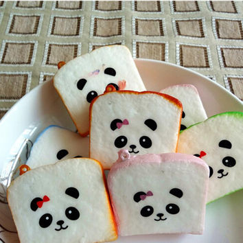 Kawaii Sliced Squishy Bread Soft Toast Phone Straps Squishy Bear Printed Key Chains Bag Parts   Accessories SM6