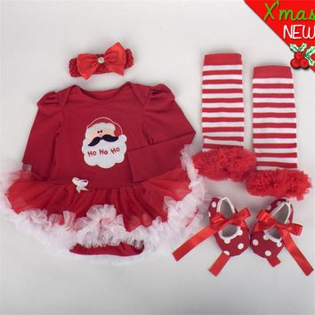Newborn Baby Clothes Christmas Infant Jumpsuit Clothes 4pcs Set Baby Girls Clothing Xmas Baby Suits Toddler Romper Tutu Dress