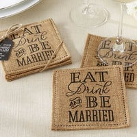 "Burlap ""Eat Drink & Be Married"" Coasters"
