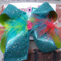 Large Layered Lime Green Turquoise Glitter Ribbon w/Rainbow Marabou Feathers Hair Bow Karens Creations