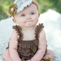 Lace Ruffle Baby Romper Brown