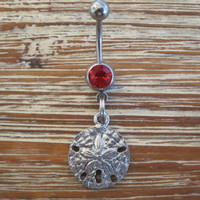Belly Button Ring - Body Jewelry -Sand Dollar with Red Gem Stone Belly Button Ring