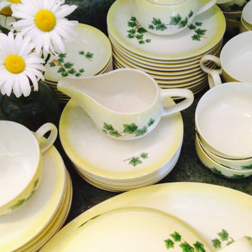 Paden City Pottery Ivy Dinnerware, White With Yellow Rim, 1950s, 67 Pieces, Perfect Condition