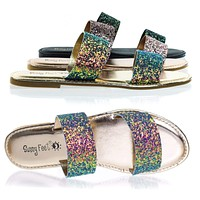Coastline70 Double Strap Rock Glitter Flat Sandal, Slipper Iridescent