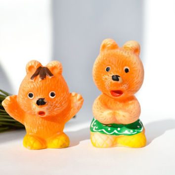 Baby Bear And His Mama Vintage Rubber Toys / Cute Soviet Mid Century Kitsch Animal Toy / Collectable Mishka
