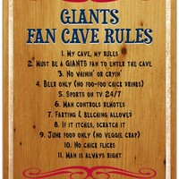 New York Giants Fan Cave Rules Wood Sign