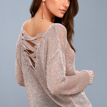 Halcyon Rose Gold Metallic Knit Backless Sweater
