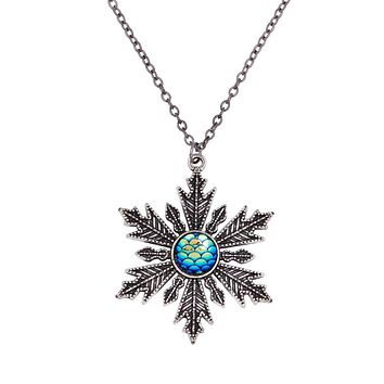DoreenBeads Handmade Drusy Fish / Dragon Scale Necklace Link Cable Chain Christmas Snowflake Blue AB Color Fish Scale 56cm, 1 PC