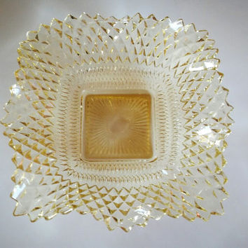 Vintage Fenton Pressed Glass Candy Dish, Yellow Depression Glass Dish, Ruffled Edge Glass