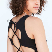 Silence + Noise Leighton Lace-Up Back Tank Top - Urban Outfitters
