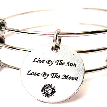 Live By The Sun Love By The Moon Triple Style Expandable Bangle Bracelet