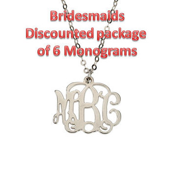 Bridesmaids Package of 6 Discounted Small Silver Monogram Necklace 20% off