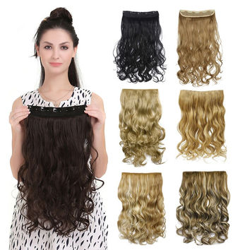 50 colors!!! Curly Clip In Hair Extension Women Natural  Synthetic Hairpiece Hair Style  Wavy Curl Clip On Hair Extensions