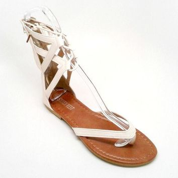 Beige Vegan Leather Sandal with Tall Straps
