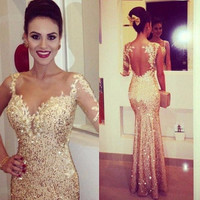 Sparking Gold Sequined Memaid Prom Dresses Backless Long Sleeve Sexy Women Occasion Dress 2016 Custom Made Wedding Party Gowns