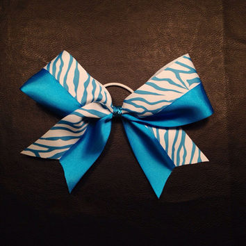3 inch cheerleader cheer bow neon blue & zebra print and sparkly blue center