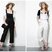 lace overalls in white,black,ankle length,sheer,elegant and fashion,casual,preppy style,high fashion,for summer.