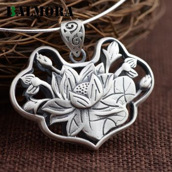 BALMORA 990 Pure Silver Vintage Lotus Flower Pendants Women Lover Accessories Without a Chain Retro Jewelry Best Gift SY13601