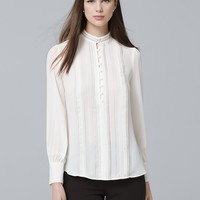 White House Black Market Pintucked Button-Front Blouse
