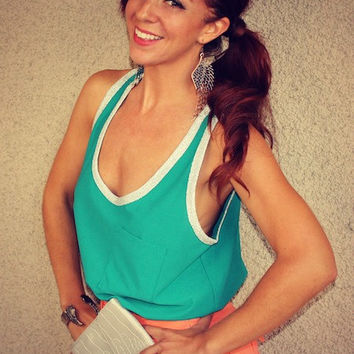 Sparkle Crossover Pocket Tank (Teal/Silver)