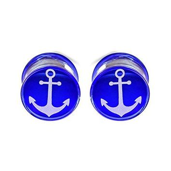 BodyJ4You Plugs Glass Saddle Anchor Engraved Earrings Stretching Set 00G 10mm Body Piercing Jewelry