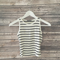 Audry Striped Crop Tank (White)