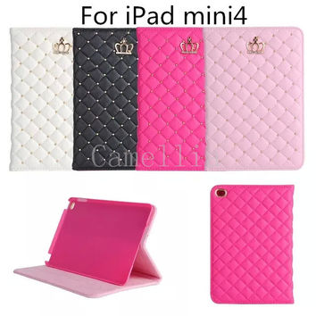 PU Leather Crown Design Bling Protective Smart Stand Case Cover with Auto Wake/Sleep for Apple iPad Mini 4 Case