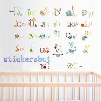 Childrens Alphabet Wall Decal stickers,abc Decal for Kids,Animal Alphabets Decal A-Z stickers