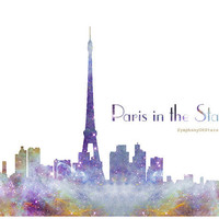 Paris Skyline Galaxy Universe Fine Art Print