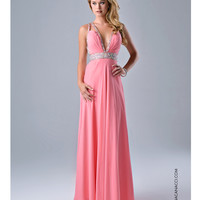 Peach Double Strap Open Back Dress Prom 2015