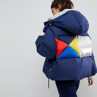 Tommy Hilfiger Down Jacket with Colourblock Back Detail at asos.com