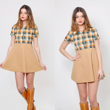 Vintage 70s PLAID Mini Dress Short Sleeve Empire Waist Micro Mini MOD Scooter Dress