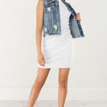 RIDE CHICK DISTRESSED DENIM VEST - What's New
