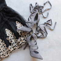 classic pointed toe suede wrapped heels - more colors