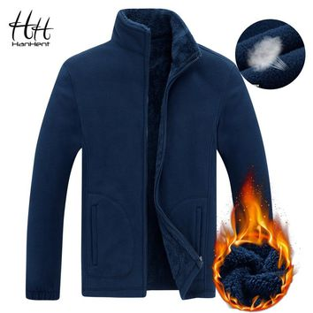 HanHent Stand Collar Thick Fashion Sweatshirt Jackets Men's Winter 2018 Fleece Cardigan Hoodies Warm Mens Clothing Casual Street