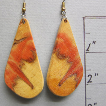 RARE, unique Red Flame Box Elder Exotic Wood Large Earrings Handcrafted ExoticWoodJewelryAnd