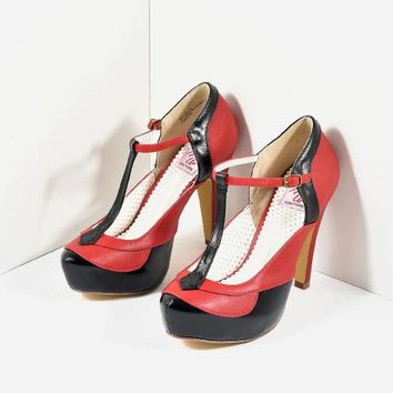 Black & Red Leatherette Bettie T-Strap Platform Heels