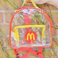 RARE Vintage Retro 90s McDonalds Fast Food Junk Food Transparent Clear See Through Club Kid Backpack Bag Rucksack