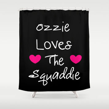 Doctor Who Ozzie Loves The Squaddie Shower Curtain by 2sweet4words Designs